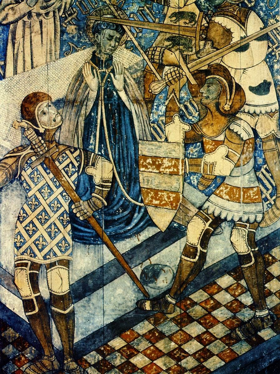 Canterbury (angleterre) - cathedrale (1170) - fresque du xve - le